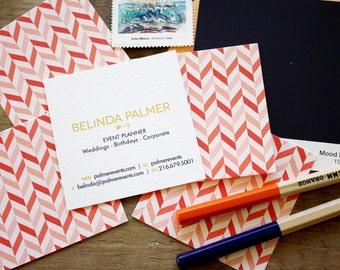 offset chevron calling cards / business cards/ blogger cards - set (50)