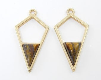 Brown Gold Geometric Earring Findings Stone Point Open Arrow Pendant Charm for DIY Jewelry Faux Tigers Eye  BR2-3 2