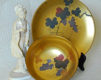 Japanese Lacquerware Bowl and Plate Set