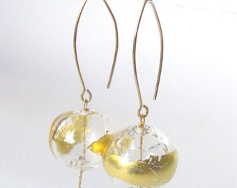 Gold glass earrings, Gold dangle earrings, Gold glass bead earrings, Clear glass earrings, Gold lampwork earrings, Blown glass earrings