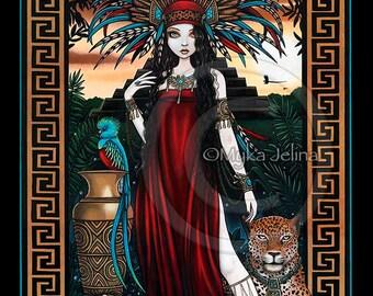 SALE Toltec Jaguar Shaman Quetzal Priestess Zyanya Mesoamerican Embellished Ltd Canvas Print 8x10 inch