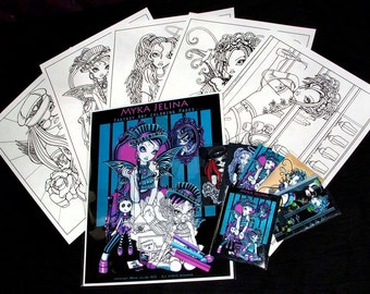 Set 2 - 5 Pages - Myka Jelina Fantasy Art Coloring Pages & Trading Card Gothic Fairy Roller Derby