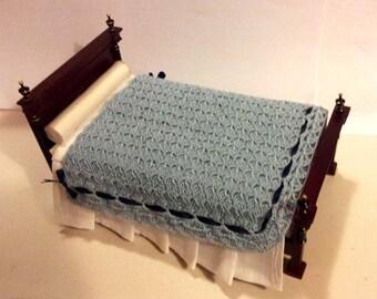 Crocheted blue plaid miniature for dollhouse 1:12