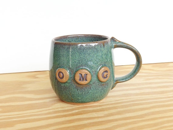 Stoneware Pottery Mug in Sea Mist - Ceramic Coffee Cup - OMG