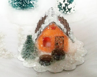 Original Handmade Vintage Putz Style Tiny Miniature Orange Sherbet Glitter Sugar House and Hand Cut Pine Trees Christmas Village Ornament