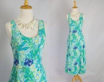 Vintage 1980's Midi Sun Dress Tropical Bombshell