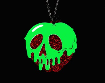 "Poison Apple Necklace - Red Glitter Apple - SMALL 2"" - You Select Poison Slime Color - Acrylic Laser Cut Necklace"