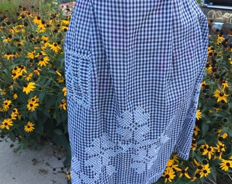 Vintage Navy Blue and White Gingham Check Half Apron with White Chicken Scratch Embroidery
