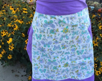 Vintage Purple and White Butterfly Print Half Apron