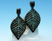 Small Leaf Pendant With Bail, Green Patina, Greek Casting, 2 Pieces, M382