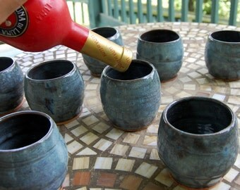 Set of Eight Slate Blue Drinking Cups or Stemless Wine Glasses - Made to Order