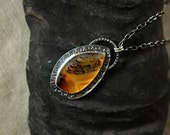 Montana Agate Pendant Necklace, Sterling Silver Handmade Stamped Setting, Painted Rock, Flame Orange And Black