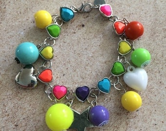 Star candy neon beads heart acrylic crystal bead doll bracelet Matel super fabulous acrylic crystal bling multi colored kids charmit