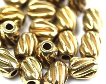 Metal Beads Oval Ribbed Melon Raw Brass 6x5mm (10) M038
