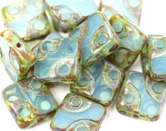 Czech Glass Beads Square Dots Columbia Opal Picasso 10mm (10) CZP909