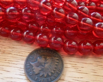 24 Vintage Beautiful Deep RED 7.5mm Glass Beads C36