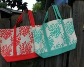 Personalized Monogrammed Coral Canvas Tote -- Free Monogramming
