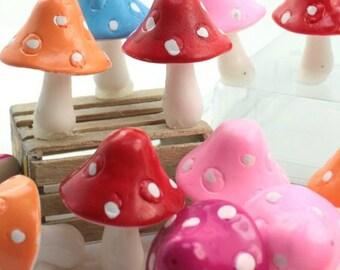 "Colorful Set - 1"" Ceramic Mushroom - Set of 10 fairy garden gnome home miniature mushrooms craft project diorama- 218-0141"
