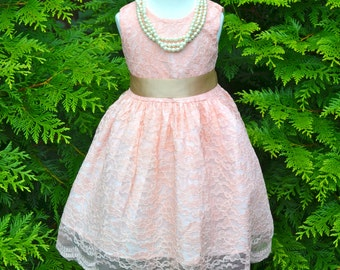 Blush Pink Coral Lace Flower Girl Dress, Coral Lace dress, Coral Wedding dress, flower girl junior bridesmaid dress, Vintage Style Dress