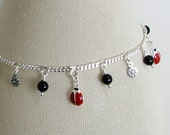 Ladybugs and Black Onyx Sterling Silver Charm Bracelet