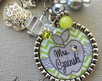 Personalized, Teacher Gift, teacher appreciation, end of year gift, gift from class, rhinestone apple charm, CHEVRON, thank you gift, charm