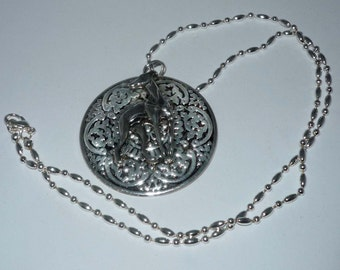 Ornate Stamped Metal Pendant w Pewter Greyhound or Whippet, SP Necklace