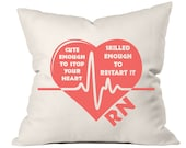 Cute Enough To Stop Your Heart Pillow, Nurse Gift, Gifts for Nurse, Nurse Graduation, RN Gifts, Accent Pillow, Throw Pillow, Nurse Decal