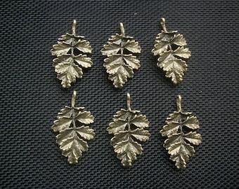 6 Autumn Oak Leaf Charms Antiqued Bronze Tone