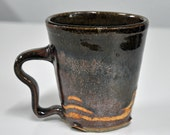 Handmade Ceramic Mug, Handmade Stoneware Cup, Brown and Burgancy, Handmade Pottery by Bonnie Stowe