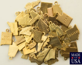 Raw Brass Tiny State Charm United States Complete Set (50) chr201AE