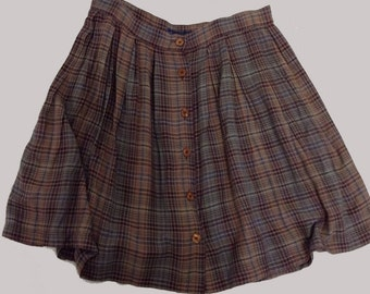 Swingy Button Front Classic Rayon Plaid Skirt