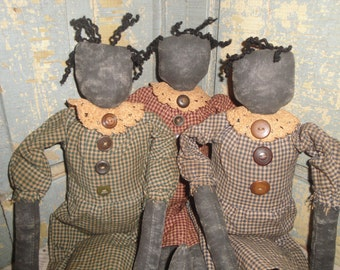 Black Cloth Doll | Handmade Cloth Doll | Primitive Doll | Listing Is For 1 Doll You Chose Dress Color