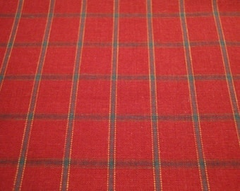 Red And Green Holiday Large Plaid Homespun Fabric 1 Piece 58  x 58