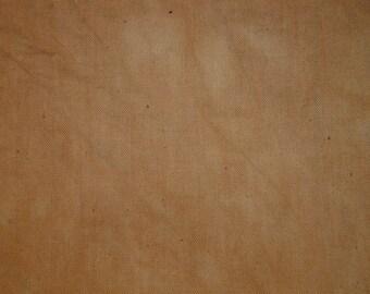 Muslin Fabric Hand Dyed | Medium Camel Dyed Muslin | Primitive Muslin Fabric | Sampler Fabric | Hand Stitching Fabric | 1 Yard