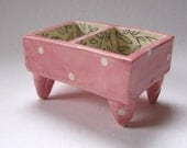 shabby chic floral pretty Pink Pottery Dish :) Alice in Wonderland polka-dots w/ black & white floral