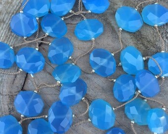Blue Chalcedony Stone Necklace Hand Knotted