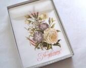 No ugly crying wedding handkerchief, mother of the bride wedding favor, cream roses hankie, gift boxed handkerchief