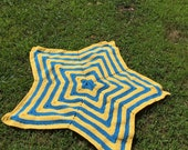 Yellow and Blue 5 star Baby Blanket, Minion Colored Baby Blanket