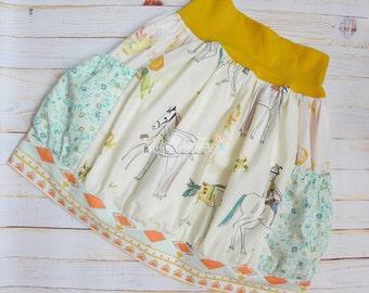 Horse Skirt - Guitar Skirt - Floral Skirt - Knit Waist Bubble Skirt with Pockets - Made to Order