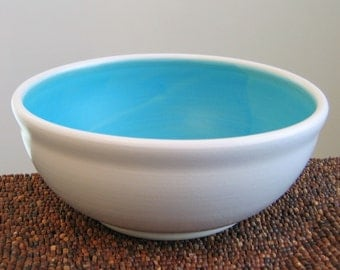 Pottery Serving Bowl - Stoneware Ceramic Fruit Bowl in Turquoise Blue - Wedding Gift