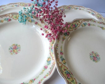 Vintage Mount Clemens Mildred Floral Luncheon Plates Set of Four - Shabby Cute
