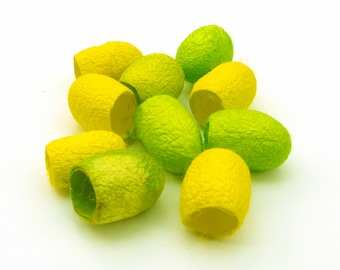 Silk cocoons, hand dyed - lime green, neon, bright yellow, jewellery supply, textile supply, fibre art supply