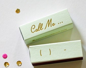 Gold Foil Matches - Call Me- Foil Stamped - Funny Gift - Mint and Gold - Set of 3