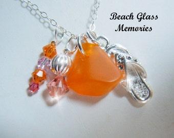 Orange Beach Glass Necklace  Flip Flop Sea Glass Necklace  Beach Glass Jewelry