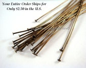 25 Antique Gold Headpins 3 inch (7.6cm) Plated Brass, 21 Gauge - 25 pc - F4001HP-AG325