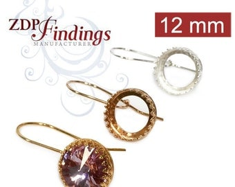 2pcs x Quality Sterling Silver 925 Round 12mm Crown Bezel Kidney Wire Earrings Fit Swarovski Rivoli 1122, Choose your Finish (956312SHV)