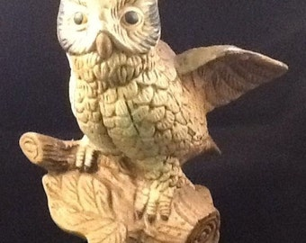 "Porcelain Bisque Owl Figurine Brown Hand Painted 5"" Tall"