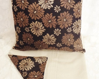 """PILLOW COVERS - Set of Two 18""""x18"""" Covers - Inserts Not Included - Black/Tan/Beige with Abstract Flowers - #PLW103002"""