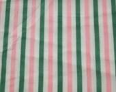 "SALE vintage 80s pink, green and white preppy stripe print, 46"" x 29"""