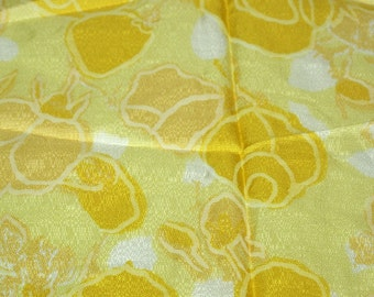 SALE vintage 70s fabric featuring great yellow tone-on-tone floral print, 1 yard, 10 inches